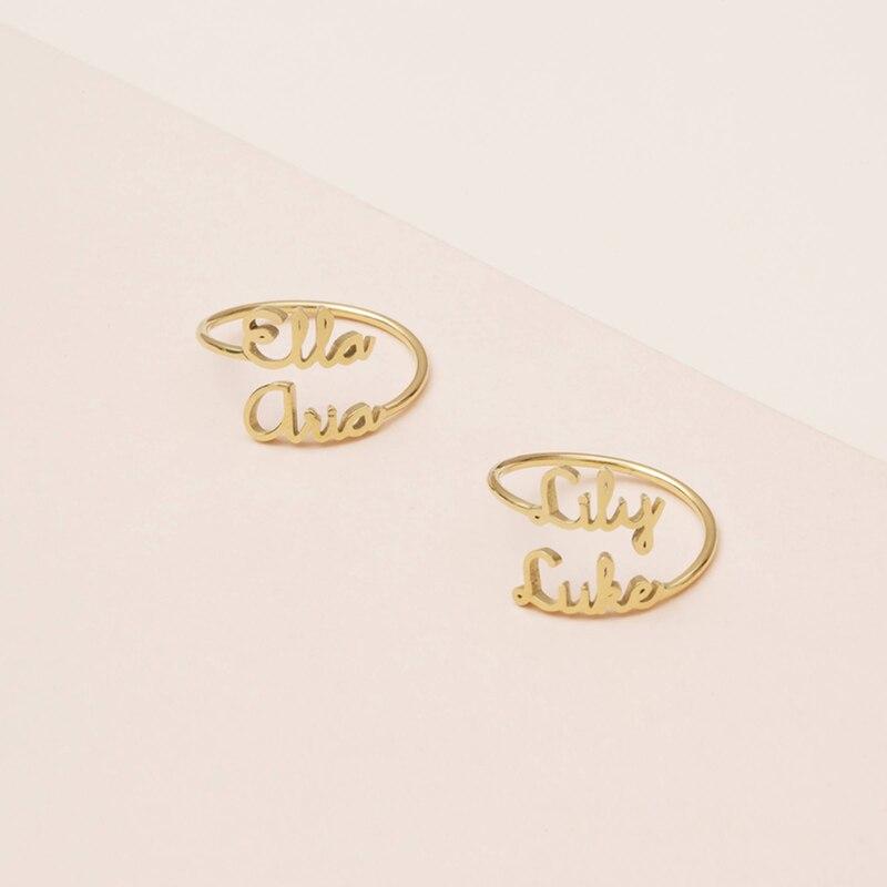 Nome Duplo ajustável Anéis Para Os Amantes do Casal Personalizado Dois Nomes de Anéis de Casamento Para As Mulheres Homens Jóias Em Aço Inoxidável Anel Bague