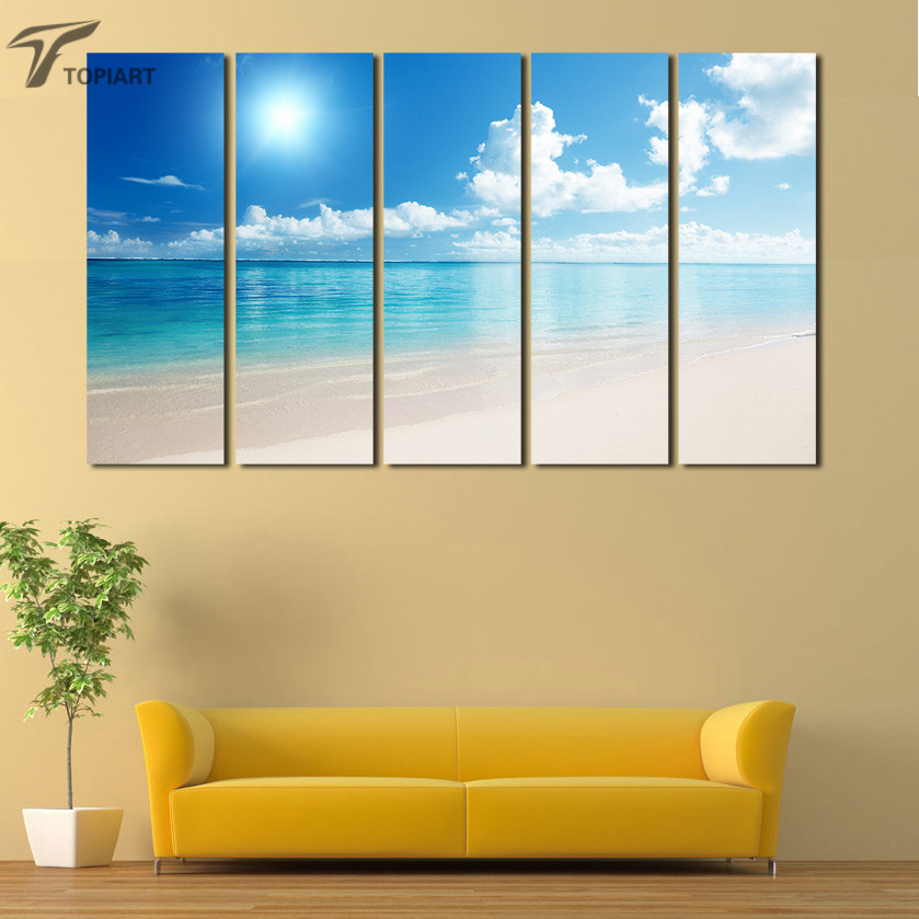 Canvas Wall Art White Beach 5 Panel Abstract Large Print Painting ...