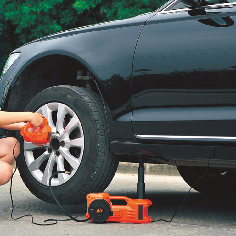 Emergency Tools Orange Electric Hydraulic Lifting Jack For Sedan With Inflating Pump And Impact Wrench