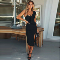 Summer Elegant Black Ruffled Midi Dresses One Shoulder Party Dress Backless Bodycon Slinky Dress Sleeveless Knee Length Dresses
