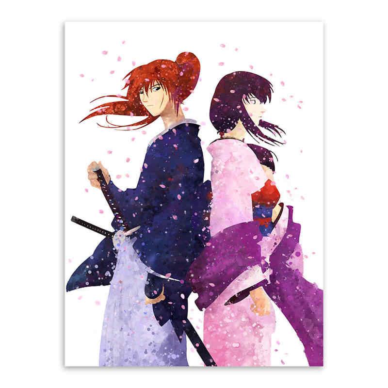 Acuarela clásica samurái Anime lienzo pintura sin marco pintura decorativa japonesa cuadros de pared para el cartel de la sala de estar