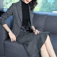 ACRMRAC Women suits Slim gray jacket skirt 2 pieces set OL Formal Women skirt suits