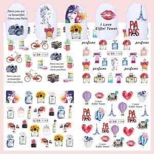 Image 4 - 12 шт. романтические наклейки для дизайна ногтей в Париже, наклейки, Мультяшные Слайдеры для духов на ногтях, обертывания, подвески, украшения для ногтей