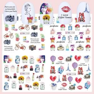 Image 4 - 12pcs Romantic Paris Designs Nail Art Stickers Decals Cartoon Perfume Sliders On Nails Wraps Tip Charms Decoration TRBN1141 1152