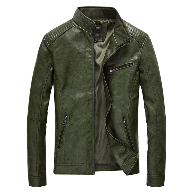 2020 Spring PU Leather Jacket Men Solid Casual Faux Leather Coat Slim Fit Motorcycle Leather Jacket Outwear