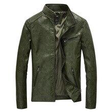 Chaqueta de cuero sintético para hombre, abrigo informal liso de piel sintética, chaqueta ajustada de cuero para motocicleta, prendas de vestir, primavera 2020