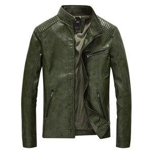Image 1 - Chaqueta de cuero sintético para hombre, abrigo informal liso de piel sintética, chaqueta ajustada de cuero para motocicleta, prendas de vestir, primavera 2020