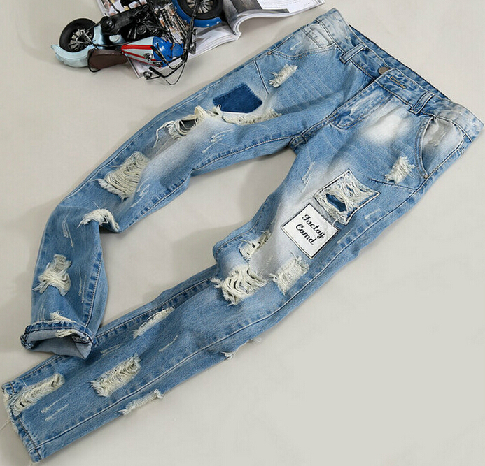 ФОТО Free shipping 2016 spring autumn winter new European and American Youth pop men tide fashion casual cool jeans Cheap wholesale