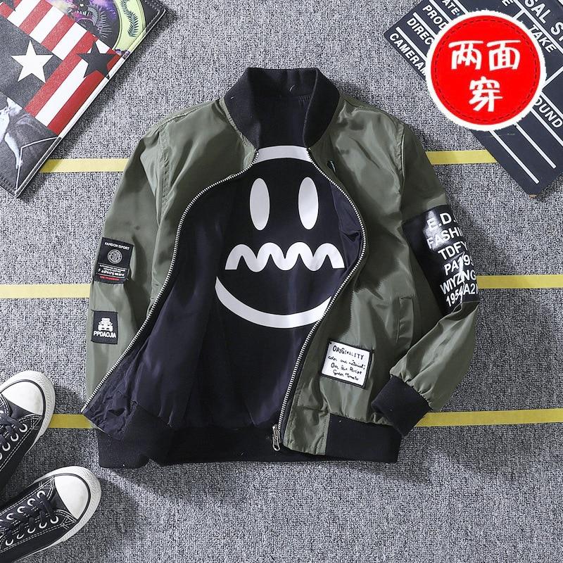 Baby Boys Jacket Korean Version Spring/Autumn Double-faced Smiley Face Printed Jacket Boys New Clothing Christmas Birthday Gift