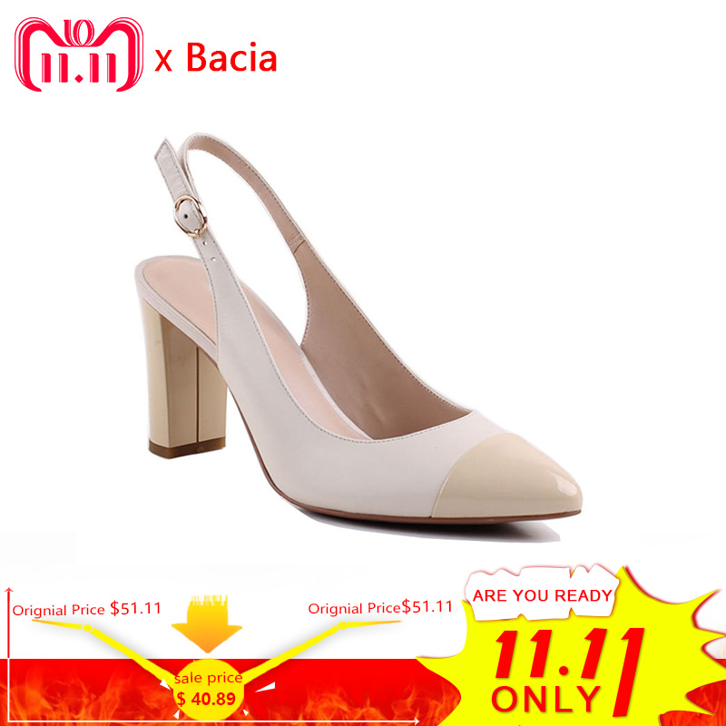 Bacia Sheep Skin Sandals 2017 New Thick Square Pointed Toe Heels Buckle Strap Women High Pumps Leather Shoes 35-40 Size SA004 summer new pointed thick chunky high heels closed toe pumps with buckle ankle wraps sweet sandals women pink black gray 34 40