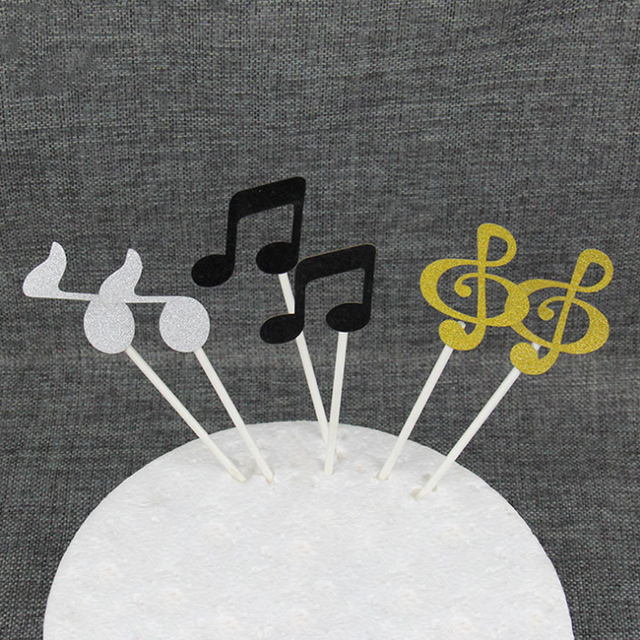 6 pcsset Cute glitter Blackwhitegold Music notes Cupcake Topper