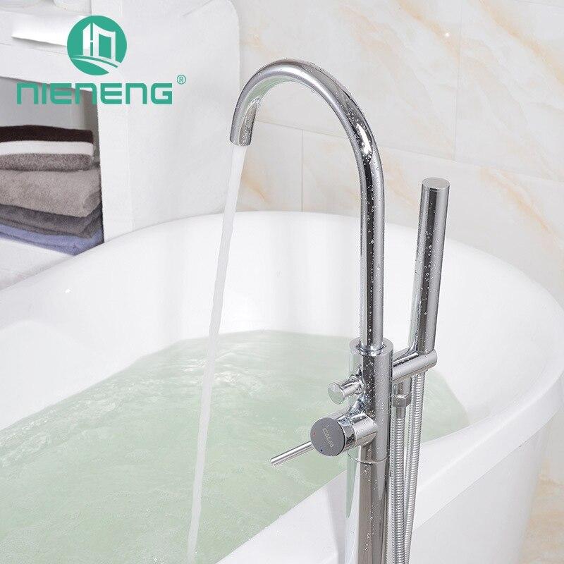 Nieneng латунные свободностоящая Ванна наполнителя кран Насадки для душа пол гору Chrome ванной набор для душа Ванная комната Душ Смеситель icd60632