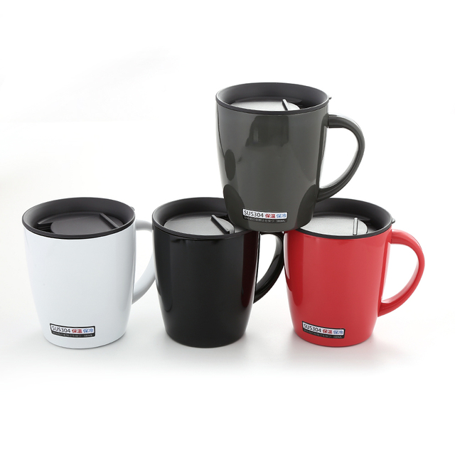 b8512c619cc Realand Stainless Steel 380ml Double Wall Vacuum Insulated Coffee Mug with  Lid Tea Cup Travel Mug
