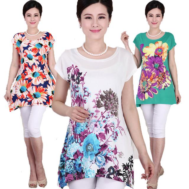 XL, XXL, 3XL, 4XL, 5XL 2016 New Ropa Mujer Verão Flor Impresso Mais Mulheres do Tamanho T shirts Tops Camisetas Blusa Feminina 23 COR