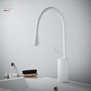Image 3 - Torneiras de lavatório branco moderno torneira do banheiro cachoeira torneiras único furo torneira da bacia água fria e quente torneiras misturadoras 88096