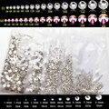 SS3 SS4 SS5 Flatback Crystal Clear Nail Art Стразы Белый Стразами 1440 шт., Не Исправление Для Телефон/Обувь/Мешок DIY Украшения