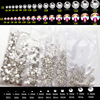SS3 SS4 SS5 Flatback Crystal Clear Nail Art Rhinestones White Strass 1440pcs Non Hotfix For Phone / Shoes / Bag DIY Decorations