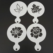 4pcs/set Flower Leaves Coffee Stencil Cappuccino Latte Art Cookie Stencils Template Mold Caffe Accessories Barista Tools