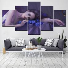 Modern Pop Wall Artwork 5 Set Hang Pictures Modular Canvas Painting Comely Character Girl Poster Prints Corridor Home Decoration(China)