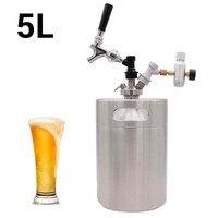 5L Mini Beer Keg Growler for Craft Beer Ball Lock Dispenser System CO2 US Draft Beer Faucet with Premium Pour Regulator