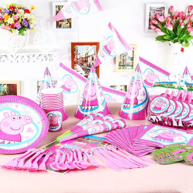130pcs Lot Wholesale Peppa Pig Theme Party Decoration Baby Happy Birthday Event Party Supplies Wedding For Kids In Party Diy Decorations From Home