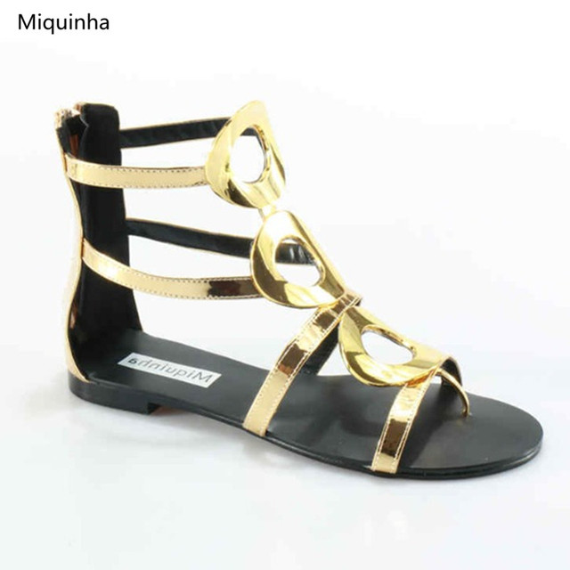 1afb5bc22548 Metallic Gold Patent Leather New Circle Fashion Sandals Women Gladiator  Flats Wmen Boots Zip Back Ankle