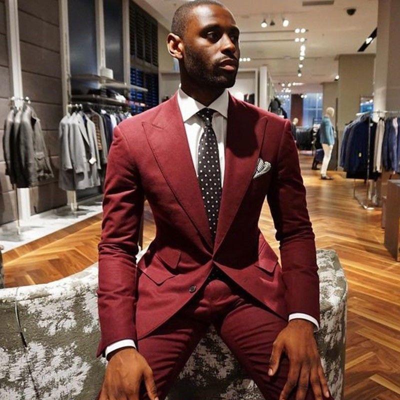 Burgundy Men Suits Groom Tuxedo Slim Fit 3 Piece Prom Blazer Suit new