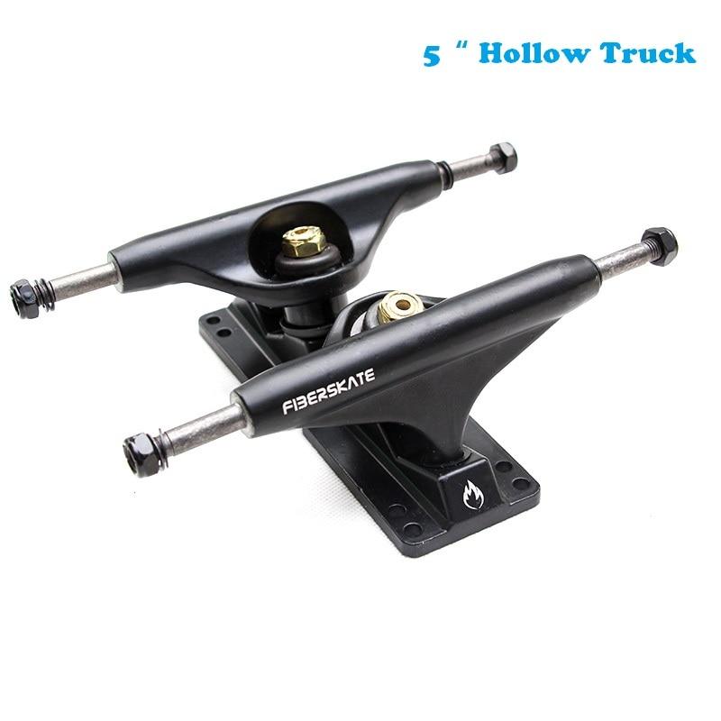 Fiberskate Pro skate truck 5 Hollow Skateboard Truck Longboard Truck SHR95A Bushings 2PCS Matte Black Golden kingpin