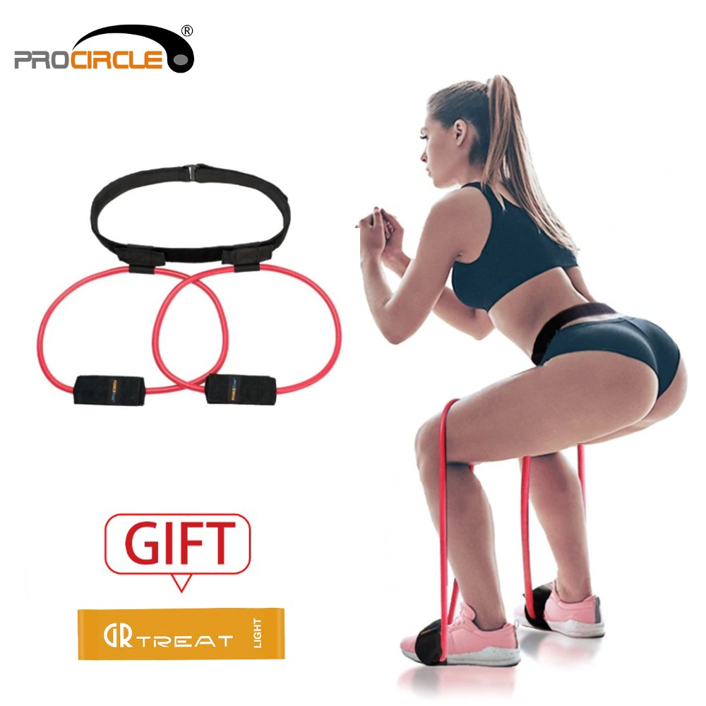 procircle Fitness Women Booty Butt Resistance Bands Adjustable Waist Belt Exerciser