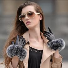 Women #8217 s autumn and winter thicken fleece lining glove lady #8217 s natural fox fur glove genuine leather driving glove R282 cheap Gloves Mittens Adult Fashion Solid Oytall Wrist