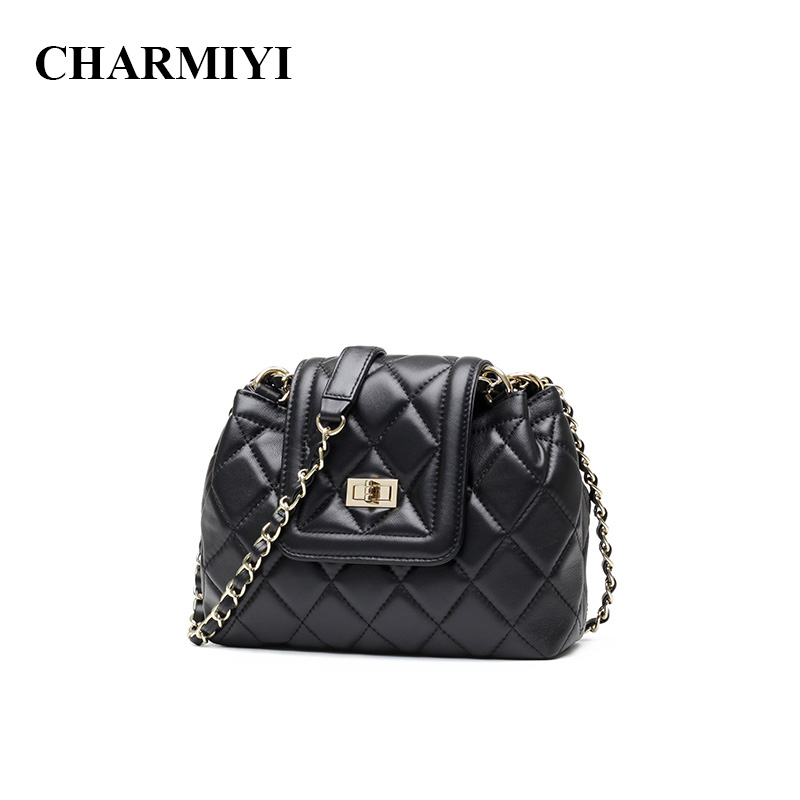 CHARMIYI 2018 Brand Genuine Leather Ladies Shoulder bag Fashion Chain Small Women Messenger bags Solid Cover Woman Crossbody bag new small crossbody bag casual shoulder bags women small fashion split leather messenger bags ladies fashion handbag women chain