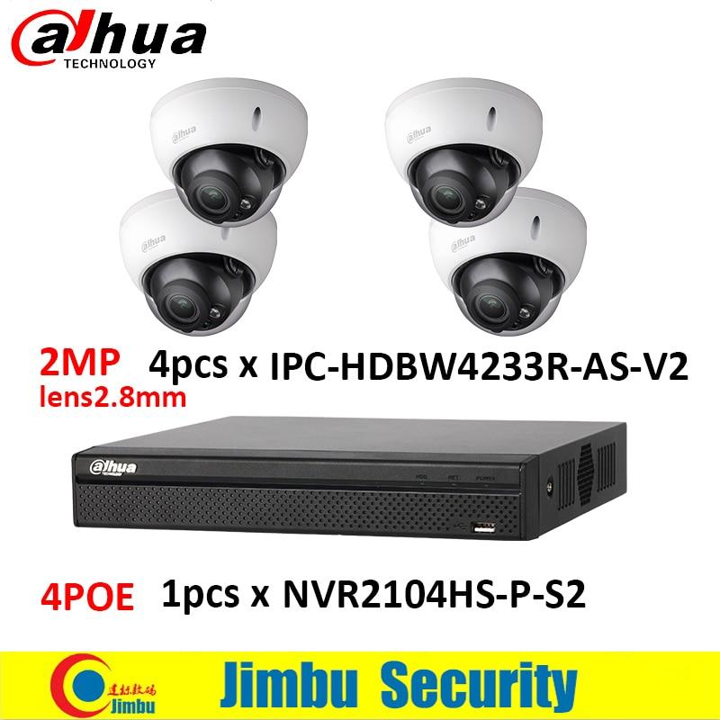 Dahua 4CH NVR kit video recorder 1 piece NVR2104HS-P-S2 with 4POE port & Dahua 2MP IP camera 4 pieces IPC-HDBW4233R-AS dahua 4ch 8ch smart 1u nvr with p2p function dahua mini nvr with 4poe nvr1104 p nvr1108 p