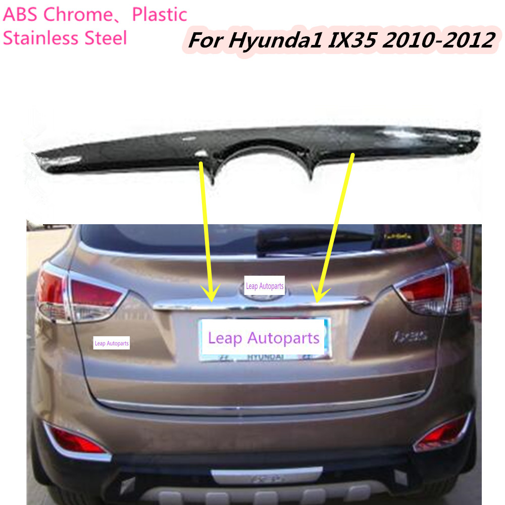 Top Car Stick body ABS chrome Rear door tailgate bumper frame plate trim lamp trunk hoods 1pcs for Hyundai IX35 2010 2011 2012 high quality for qashqai 2016 car body styling cover detector abs chrome rear door bottom tailgate frame plate trim lamp 1pcs