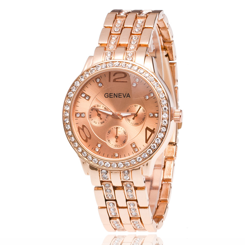 Chasy Hot Sale High quality Men Women 3 Eyes Geneva Rose GoldStainless Steel Quartz Watch Bear Men Large Dial Sport Watch Reloj geneva men s large dial cool quartz stainless steel business wrist watch