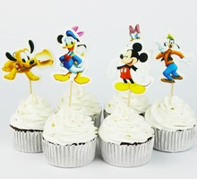 24 pcs/lot Cartoon Mickey Minnie Cupcake Topper Pick Baby shower Wedding Decoration Girl Kids Birthday Party Decoration