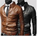 2016 New Men's Suit PU Leather Jacket Man Products Mens Fashion Transverse fit Leather Jackets For Men 3 Color Plus Size M-XXXL
