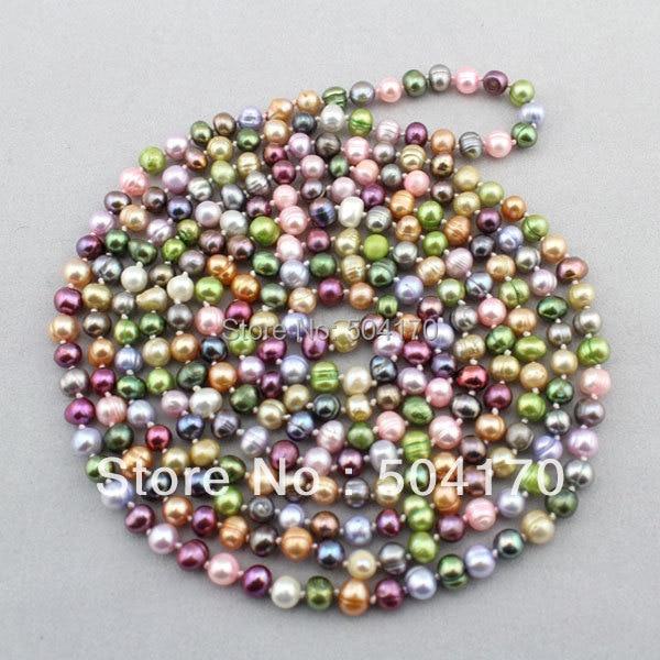 Livraison Gratuite! Collier de perles d'eau douce multicolore populaire 8mm 90
