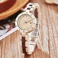 Небольшой ремешок деревянные часы для женщин дамы кварцевые наручные часы палисандр орех из розового дерева наручные часы элегантный брас...