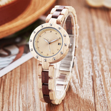 Small Band Wood Watch Women Ladies Quartz Wristwatches Rosew