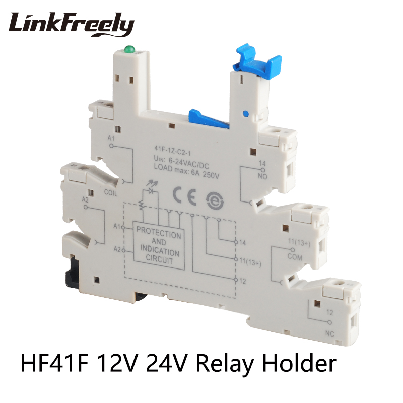 41F-1Z-C2-1 <font><b>Relay</b></font> Holder To Match HF41F Micro PCB Mount Power <font><b>Relay</b></font> Output 6A/250V Input 6-<font><b>24VAC</b></font>/DC 5 Pin Voltage Contact <font><b>Relay</b></font> image