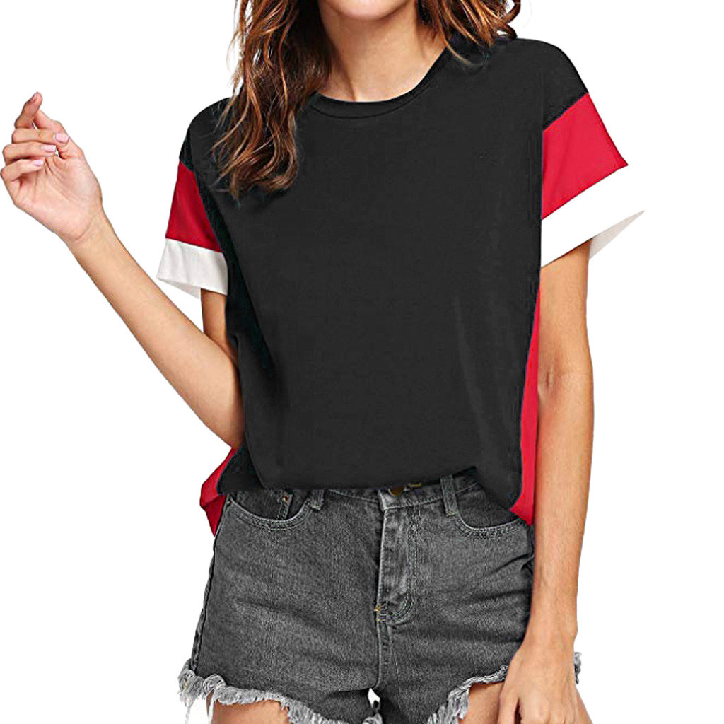 Women T shirts and camiseta mujer Women's Color Block Short Sleeve Casual Tee Shirts Tunic Tops