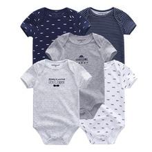 Распродажа; 5 шт.; детские комбинезоны из хлопка; одежда с короткими рукавами для малышей; Детский комбинезон с рисунком; Одежда для маленьких мальчиков и девочек