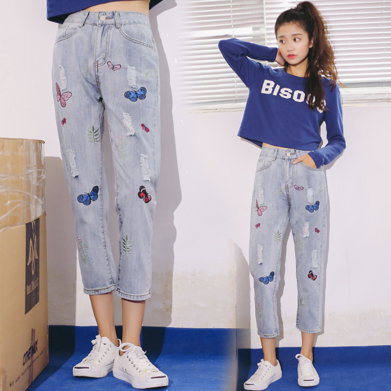 Hodisytian New Fashion Women Jeans Stretch Denim Pants Calf-length Slim Fit Butterfly Embroidery Denim Trousers High Waist hodisytian new fashion women jeans high waist elastic denim capris pencil pants stretch trousers pantalon femme plus size 5xl