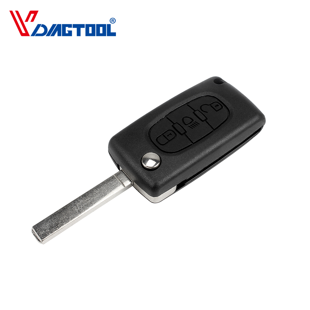 VDIAGTOOL 3 Buttons Key Fob Case For Peugeot Car Key Shell With Light Button And Battery Place Without Groove Blade(CE0536) image