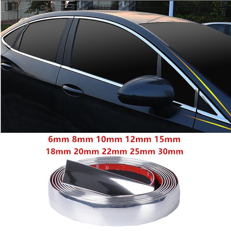 Fauge Silver Car Grille Exterior Chrome Styling Decoration Moulding Trim Strip 4mm