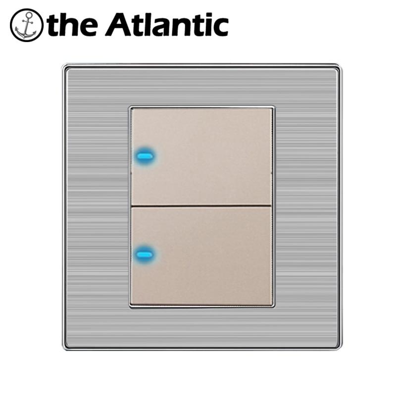 Atlantic Heißer Verkauf 2 Gang 1 Way Frei Klick LED Lichtschalter Taster Wand Edelstahl Schalter Interrupteur 10A AC110 ~ 250 V