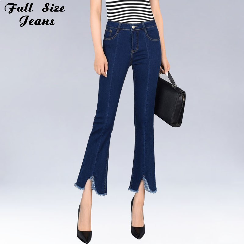 Spring Korean Plus Size Flare Nine Jeans High Waist Irregular Capris Pants Elastic 9 Points Bell Bottom 4Xl 6Xl