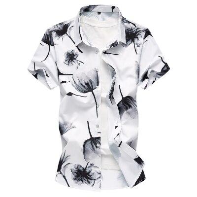 Летний модный бренд Для мужчин s рубашки Slim Fit Для мужчин с цветочным принтом Футболка с коротким рукавом Для мужчин Повседневное мужской гавайская рубашка плюс Размеры M-7XL - Цвет: 6938-2 Color