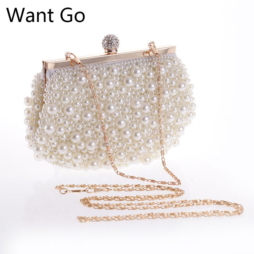 Want Go White Color Pearl Beaded Bride Wedding Party Clutch Purse Fashion Women Evening Bag Newest Lady Mini Chain Shoulder Bag luxury crystal clutch handbag women evening bag wedding party purses banquet