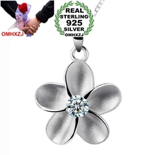 OMHXZJ Wholesale jewelry woman plum blossom flowers AAA zircon 925 sterling silver pendant Charms PE34 ( NO Chain Necklace )